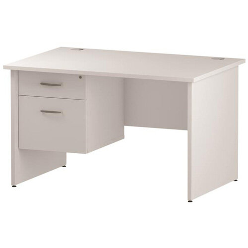 Rectangular Panel End Office Desk With Fixed 2 Drawer Pedestal White W1200xD800mm
