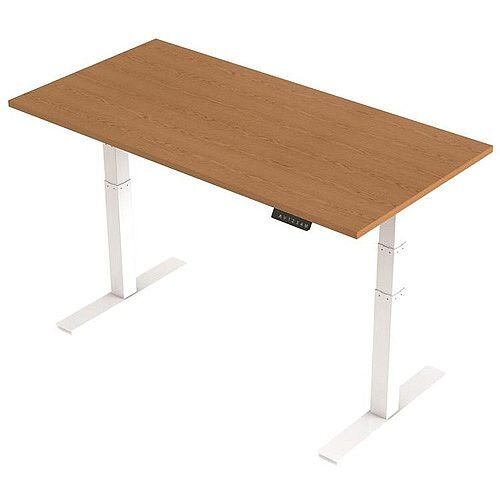 1600x800mm Height Adjustable Rectangular Sit-Stand Desk Oak with White Frame