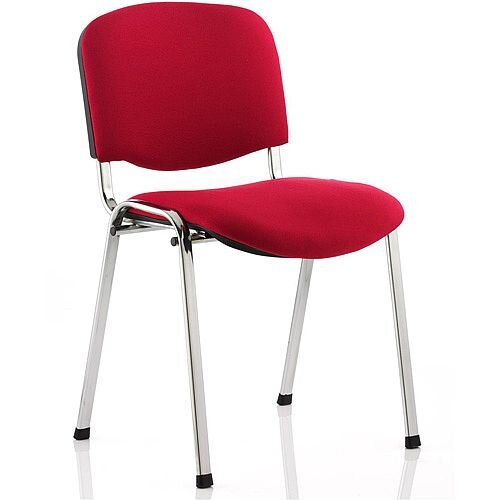 Stackable Fabric Medium Back Chair Wine Fabric and Chrome Metal Frame