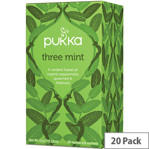 Pukka Individually Enveloped Tea Bags Three Mint Ref 5065000523435 Pack of 20
