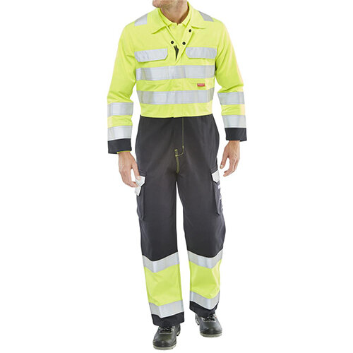 Click Arc Flash Protective Work Coverall Hi-Vis Two Tone Size 52 Saturn Yellow &Navy Ref CARC7SYN52