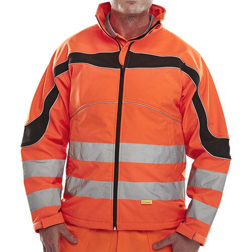 B-Seen Eton High Visibility Soft Shell Jacket Large Orange &Black Ref ET41ORL