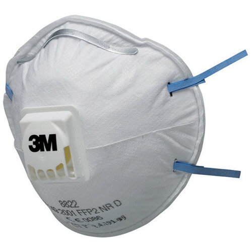 3M Respirator Valved FFP2 Classification White with Blue Straps Pack of 5