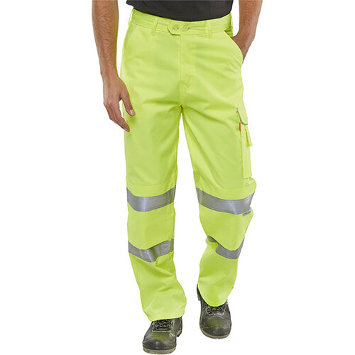 B-Seen Polycotton EN471 High Visibility Trousers 30 inch Waist with Regular Leg Saturn Yellow Ref PCTENSY30