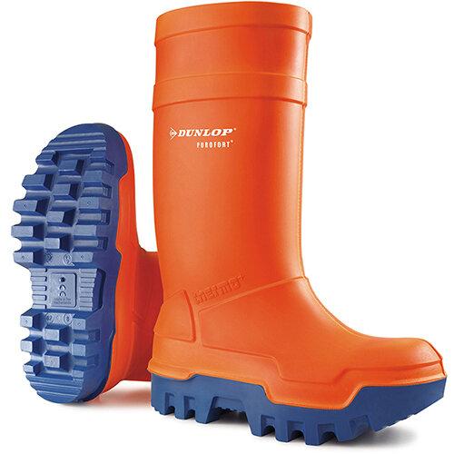 Dunlop Purofort Thermo Plus Safety Wellington Boot Size 9 Orange Ref C66234309