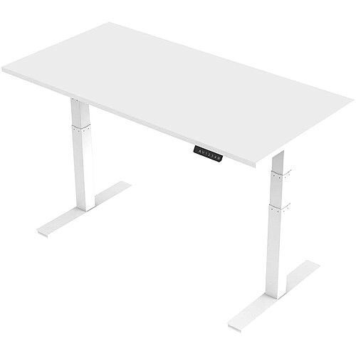 1600x800mm Height Adjustable Rectangular Sit-Stand Desk White with White Frame