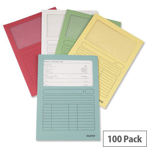 Leitz A4 Window Folder Assorted 3950-99-99 Pack 100