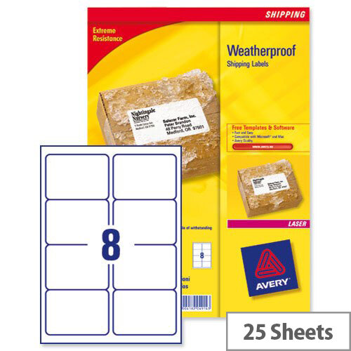 Avery L7993-25 Weatherproof Shipping Laser Labels 8 per Sheet 99.1x67.7mm 200 Labels