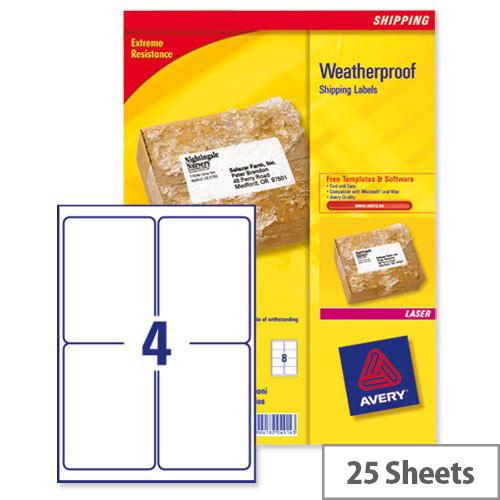 Avery L7994-25 Weatherproof Shipping Labels Laser 4 per Sheet 99.1x139mm 100 Labels