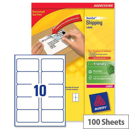 avery l7173b 100 block out shipping labels 10 per sheet 99 1x57mm