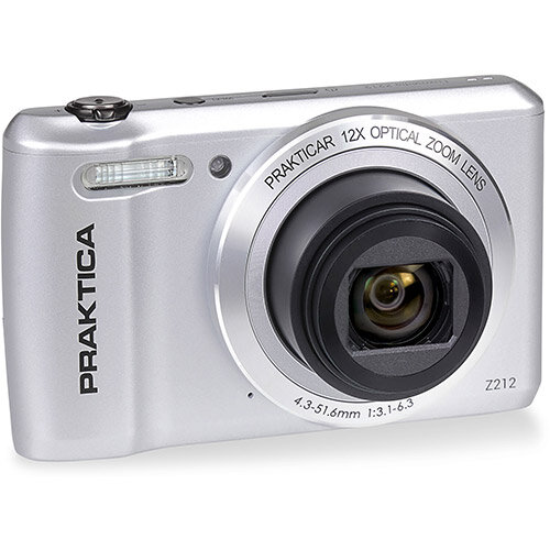 Praktica Z212 Digital Camera Kit 12x Optical Zoom Case &32GB Micro SD Card Silver Ref PRA242