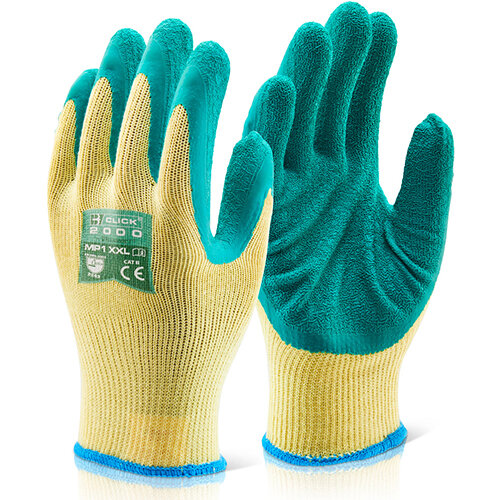 Click2000 Multi-Purpose Work Gloves Size S Green Pack of 100 Pairs - Ideal for Construction &Steel Handling Ref MP1GS