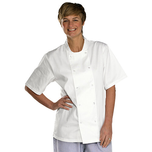 Click Workwear Short Sleeve Chefs Jacket Size M White Ref CCCJSSWM