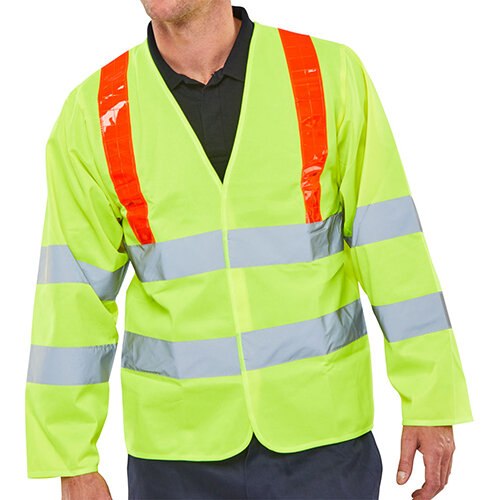 B-Seen High Visibility Long Sleeved Jerkin Size M Saturn Yellow &Red Shoulder Tape Ref PKJENG(RT)M
