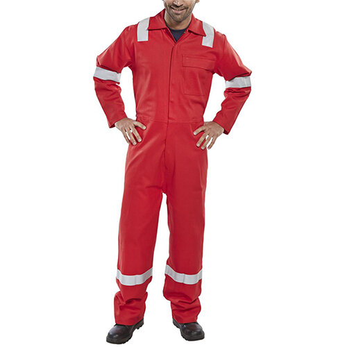 Click Fire Retardant Nordic Design Cotton Boilersuit Work Overall Size 54 Red Ref CFRBSNDRE54