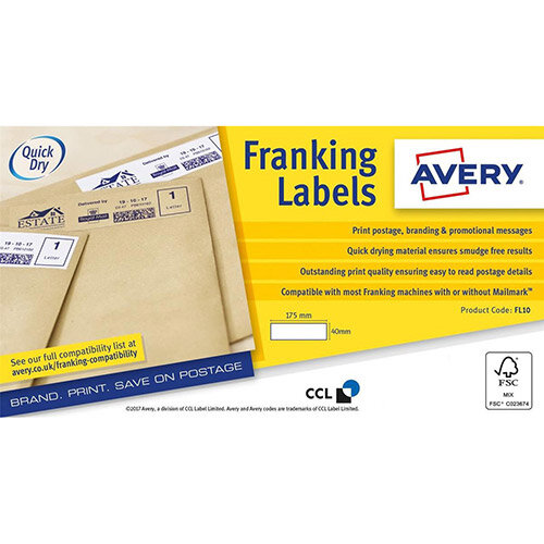 Avery 175x40mm Franking Label Pack of 1000 Labels