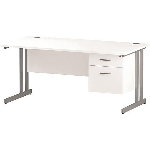 Rectangular Double Cantilever Silver Leg Office Desk With Fixed 2 Drawer Pedestal White W1600xD800mm