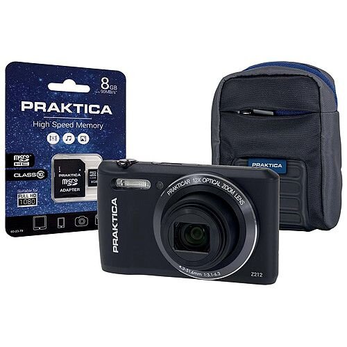 Bundle: Praktica Z212 20MP Digital Camera 12x Optical Zoom 2.7 inch LCD Black + 8GB MicroSDHC Card and Case