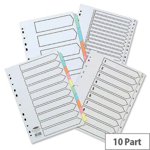 Concord 1-10 Dividers Recycled A4 Printed Tabs White