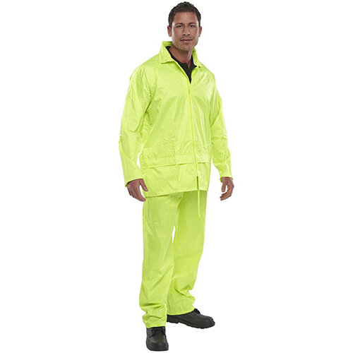 B-Dri Weatherproof Nylon Protective Work Coverall Suit Size L Saturn Yellow Ref NBDSSYL