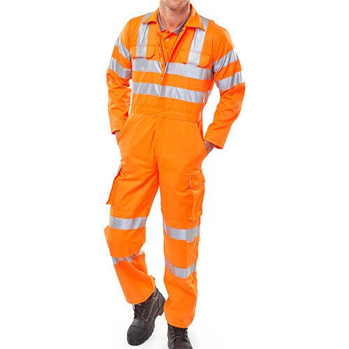 B-Seen Rail Spec Protective Work Coverall With Reflective Tape Size 48 Orange Ref RSC48