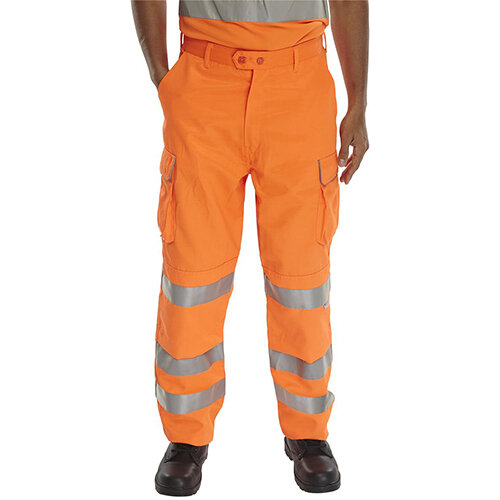 B-Seen Rail Spec Teflon Reflective High Visibility Trousers 30 inch Waist with Regular Leg Orange Ref RST30