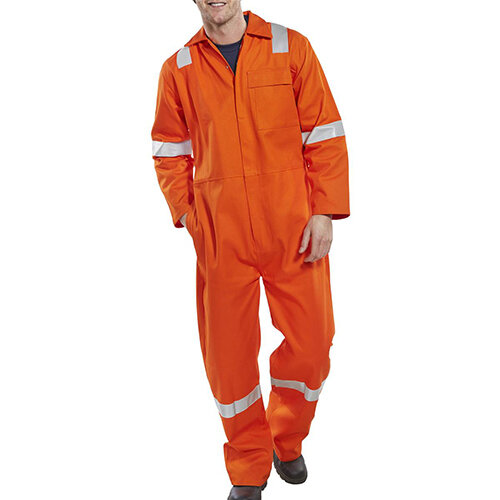 Click Fire Retardant Nordic Design Cotton Boilersuit Work Overall Size 54 Orange Ref CFRBSNDOR54