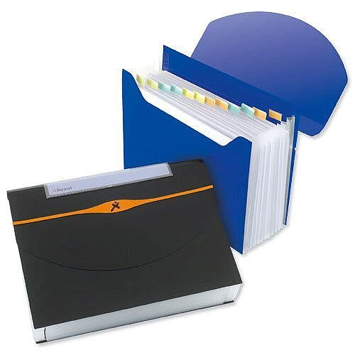 A4 Black Expanding Organiser File 13-Part Capacity 500 Sheets Rexel Optima