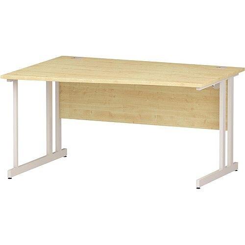 Wave Double Cantilever White Leg Left Hand Office Desk Maple W1400mm