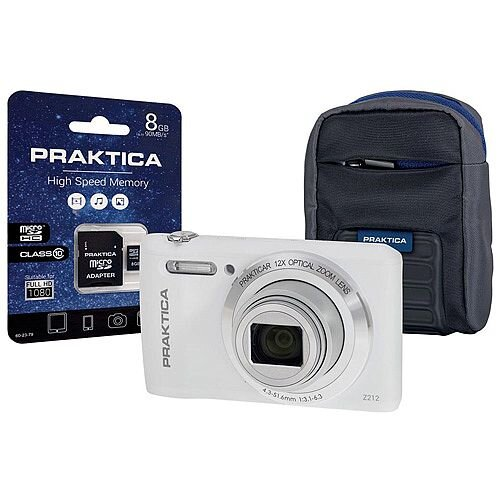 Bundle: Praktica Z212 20MP Digital Camera 12x Optical Zoom 2.7 inch LCD White + 8GB MicroSDHC Card and Case