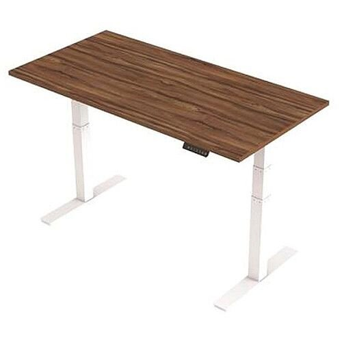 1600x800mm Height Adjustable Rectangular Sit-Stand Desk Walnut with White Frame
