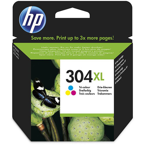 HP 304XL Yield: 300 Pages Cyan/Magenta/Yellow Ink Cartridge Ref N9K07AE