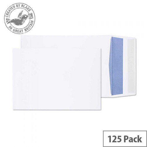 Purely Packaging Envelopes Gusset Peel and Seal 120gsm 254x178x25mm White Pack of 125