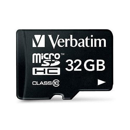 Verbatim Micro SDHC Card Including Adapter 32GB Black Ref 44083