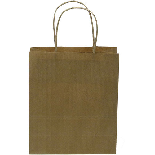 Kraft Paper Carrier Bag Twisted Handles Small 180x215x80mm 90g Natural Brown Ref 12925 Pack of 100