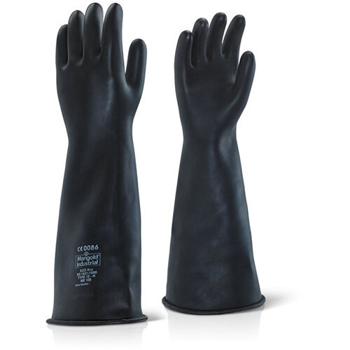 Ansell Industrial Latex Heavy Weight 17inch Gauntlet Size 09 Black Ref ILHW1709
