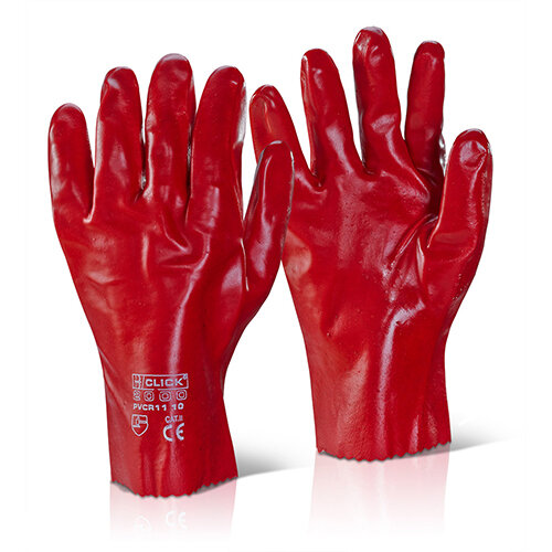 Click2000 PVC Gauntlet Open Cuff 11 Inch Red Pack of 100 Pairs - Liquid Proof Ref PVCR11