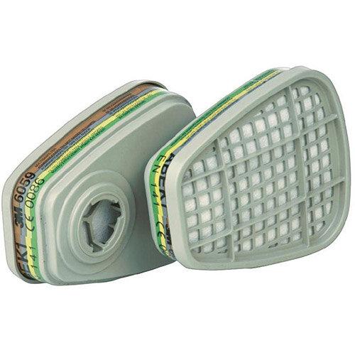 3M 6059 ABEK1 Gas and Vapour Cartridge Filter 1 Pair Grey