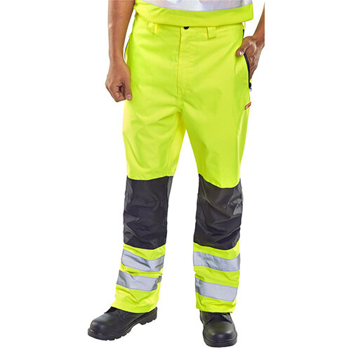 B-Seen Contrast Trousers High Visibility Waterproof Size 2XL Saturn Yellow Ref BD85SYXXL