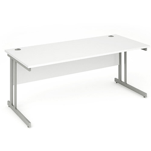 Rectangular Double Cantilever Silver Leg Office Desk White W1800xD800mm