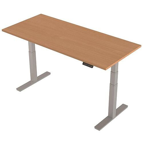 1800x800mm Height Adjustable Rectangular Sit-Stand Desk Beech with Silver Frame
