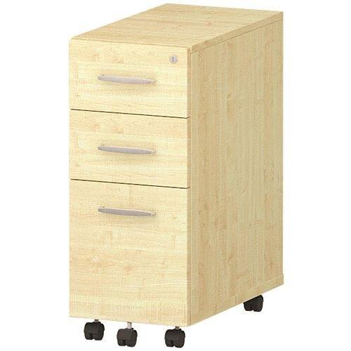 Tall Slimline 3 Drawer Under Desk Mobile Pedestal Maple