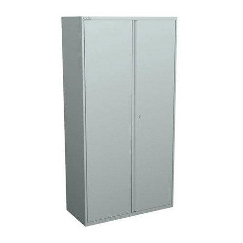 Bisley Two Door Steel Storage Cupboard High 1970mm Cupboard with Shelves Silver