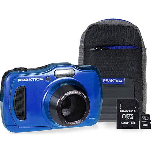 Bundle: Praktica Luxmedia WP240 20MP Waterproof Camera 4x Optical Zoom 2.7 inch LCD Plus 8GB Card and Case
