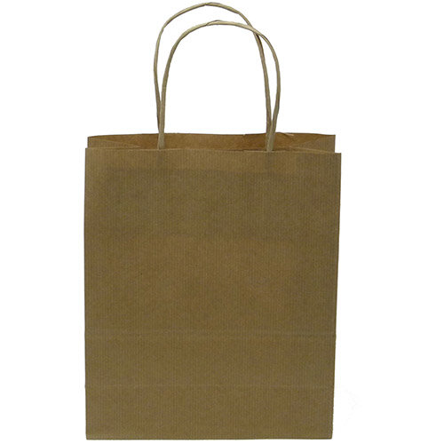 Kraft Paper Carrier Bag Twisted Handles Medium 260x340x120mm 90g Natural Brown Ref 12929 Pack of 100