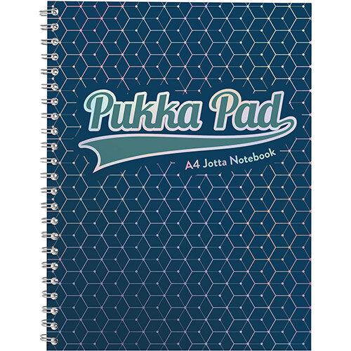 Pukka GLEE Jotta Notepad 200Pg 80gsm Wirebound A4 pls Dark Blue Ref 3007GLE Pack of 3