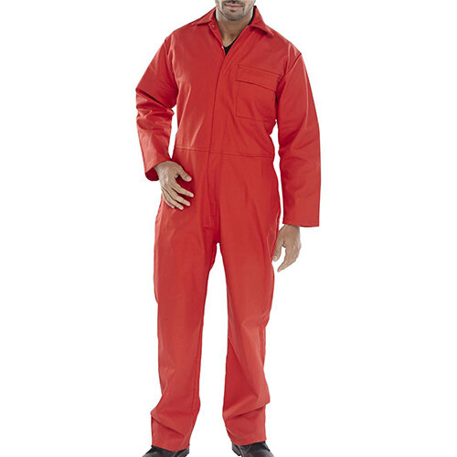 Click Fire Retardant Cotton Boilersuit Work Overall Size 54 Red Ref CFRBSRE54