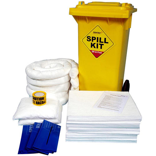 Fentex Oil and Fuel Wheelie Bin Spill Kit 125 litre White Ref OSKS