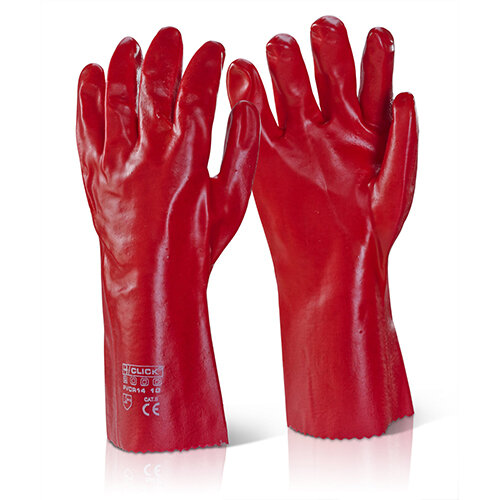 Click2000 PVC Gauntlet Open Cuff 14 Inch Red Pack of 100 Pairs - Liquid Proof Ref PVCR14
