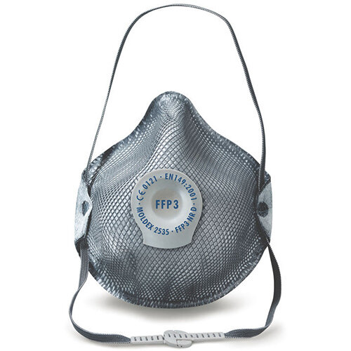 Moldex FFP3 Mask Valve Charcoal Layer Grey Ref M2535 Pack of 10